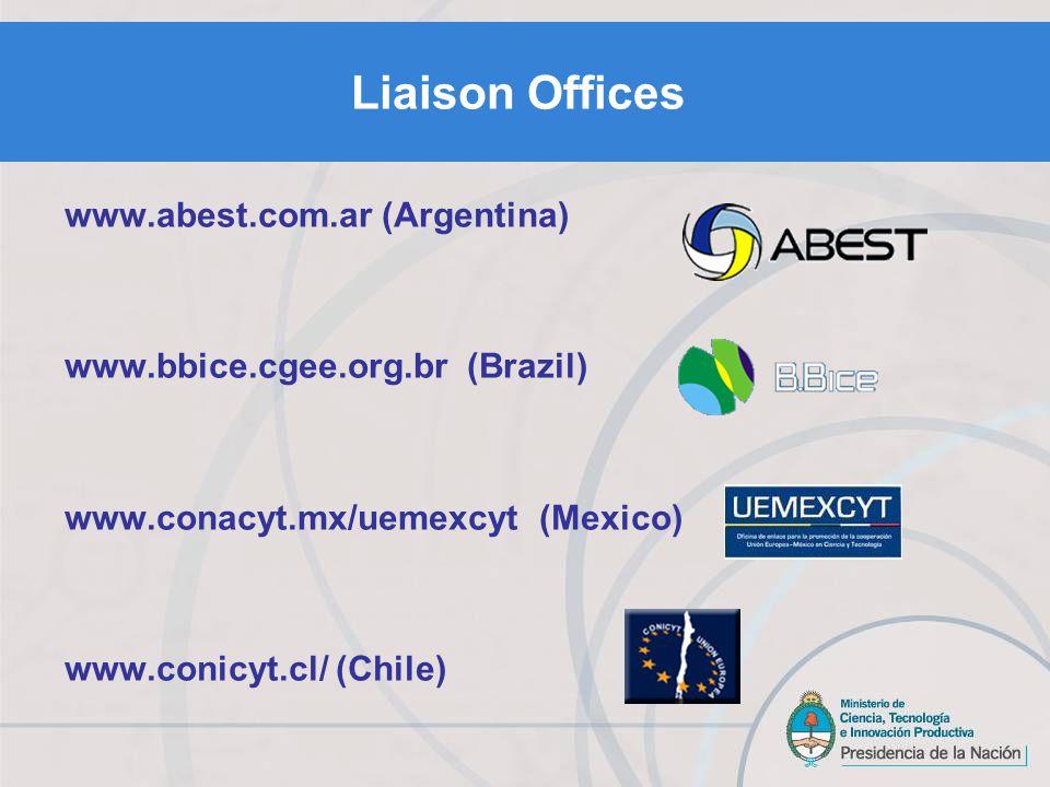 Liaison Offices www.abest.com.ar (Argentina) www.bbice.cgee.org.br (Brazil) www.conacyt.mx/uemexcyt (Mexico) www.conicyt.cl/ (Chile)