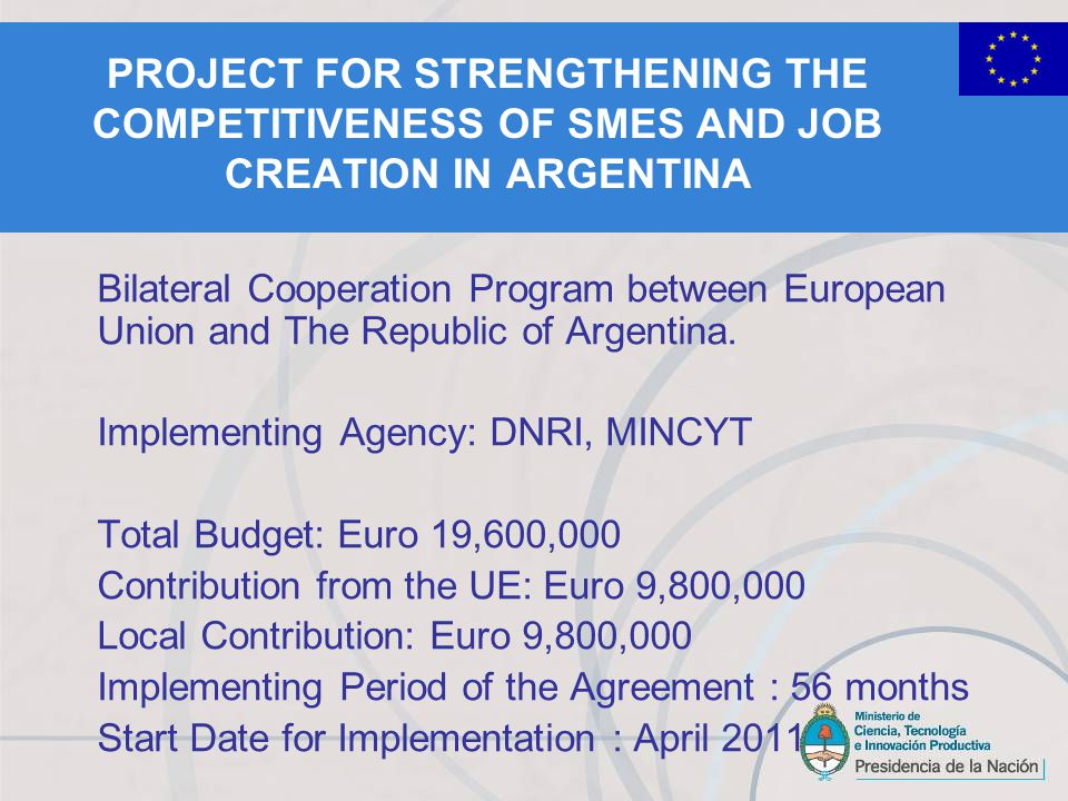 PROJECT FOR STRENGTHENING THE COMPETITIVENESS OF SMES AND JOB CREATION IN ARGENTINA Bilateral Cooperation Program between European Union and The Republic of Argentina.