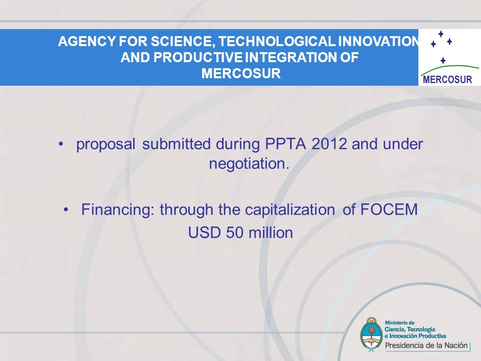 proposal submitted during PPTA 2012 and under negotiation.