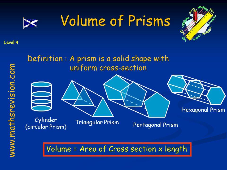 www.mathsrevision.com Definition : A prism is a solid shape with uniform cross-section Cylinder (circular Prism) Pentagonal Prism Triangular Prism Hexagonal Prism Volume = Area of Cross section x length Level 4 Volume of Prisms