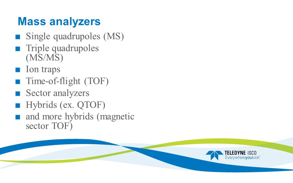 Mass analyzers ■Single quadrupoles (MS) ■Triple quadrupoles (MS/MS) ■Ion traps ■Time-of-flight (TOF) ■Sector analyzers ■Hybrids (ex.