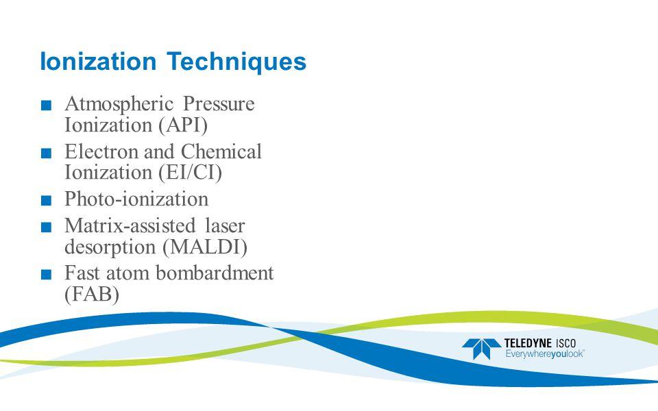 Ionization Techniques ■ Atmospheric Pressure Ionization (API) ■ Electron and Chemical Ionization (EI/CI) ■ Photo-ionization ■ Matrix-assisted laser desorption (MALDI) ■ Fast atom bombardment (FAB)