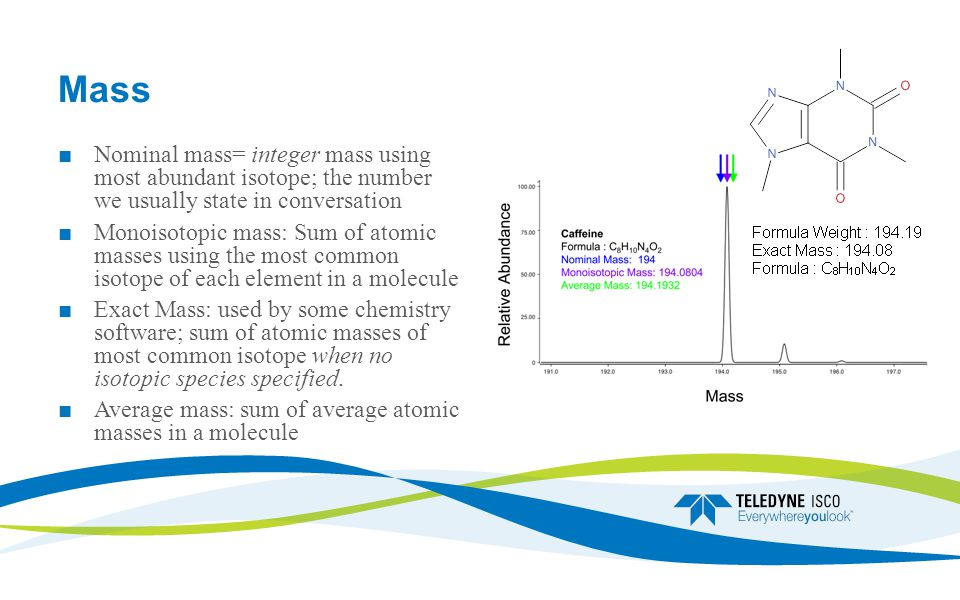 Mass ■ Nominal mass= integer mass using most abundant isotope; the number we usually state in conversation ■ Monoisotopic mass: Sum of atomic masses using the most common isotope of each element in a molecule ■ Exact Mass: used by some chemistry software; sum of atomic masses of most common isotope when no isotopic species specified.