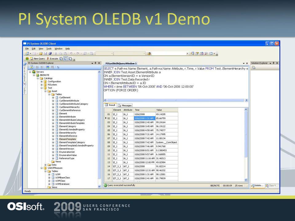 PI System OLEDB v1 Demo