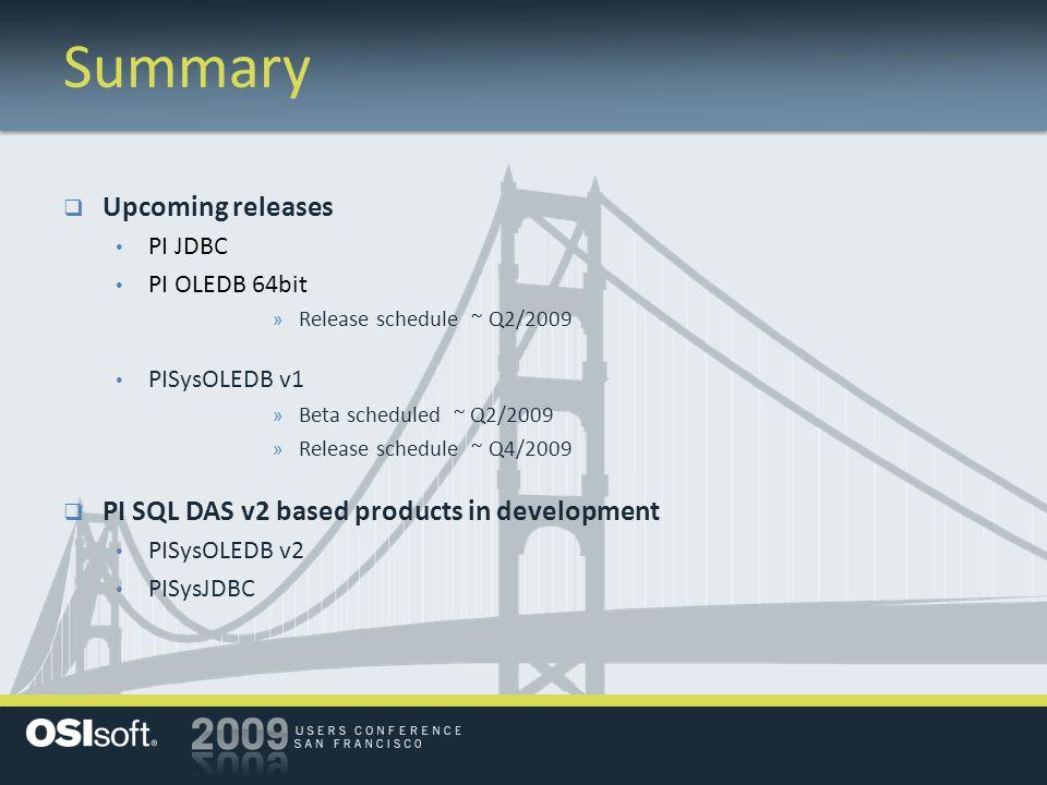 Summary  Upcoming releases PI JDBC PI OLEDB 64bit » Release schedule ~ Q2/2009 PISysOLEDB v1 » Beta scheduled ~ Q2/2009 » Release schedule ~ Q4/2009