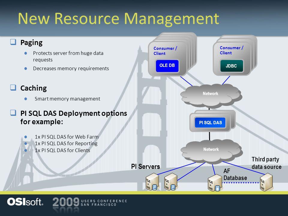 PI DAS New Resource Management  PI SQL DAS Deployment options for example: 1x PI SQL DAS for Web Farm 1x PI SQL DAS for Reporting 1x PI SQL DAS for C