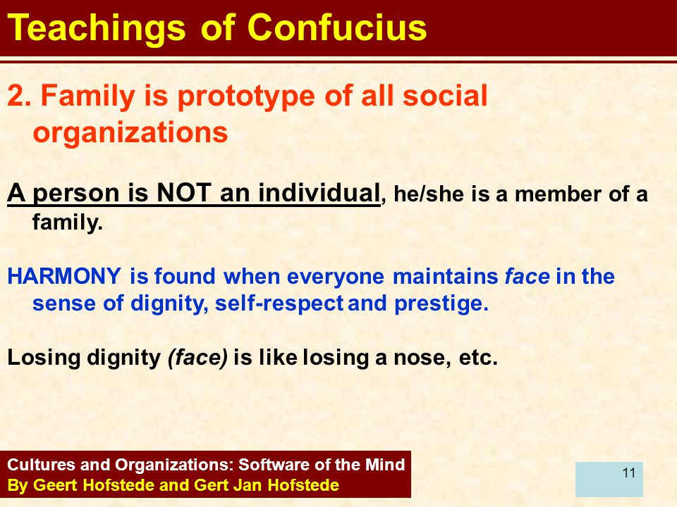 11 Cultures and Organizations: Software of the Mind By Geert Hofstede and Gert Jan Hofstede Teachings of Confucius 2. Family is prototype of all socia