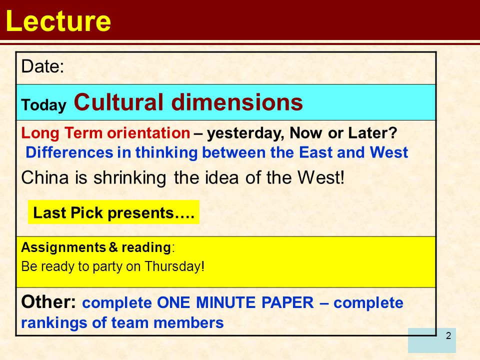 2 Lecture Date: Today Cultural dimensions Long Term orientation – yesterday, Now or Later? Differences in thinking between the East and West China is