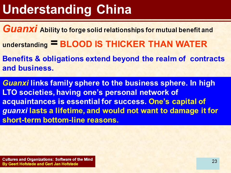23 Understanding China Guanxi Ability to forge solid relationships for mutual benefit and understanding = BLOOD IS THICKER THAN WATER Benefits & obligations extend beyond the realm of contracts and business.