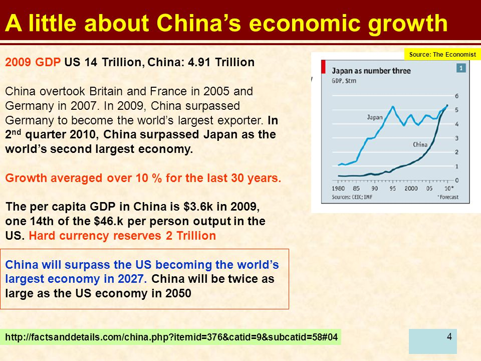 4 A little about China's economic growth 2009 GDP US 14 Trillion, China: 4.91 Trillion China overtook Britain and France in 2005 and Germany in 2007.