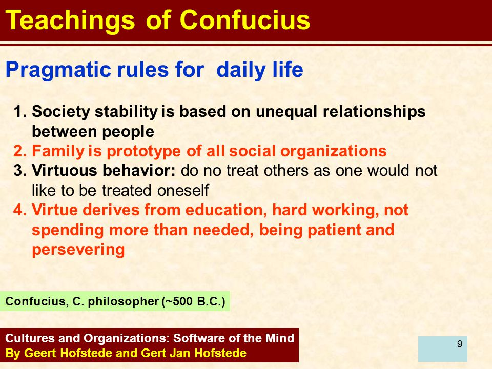 9 Cultures and Organizations: Software of the Mind By Geert Hofstede and Gert Jan Hofstede Pragmatic rules for daily life Teachings of Confucius 1.Soc