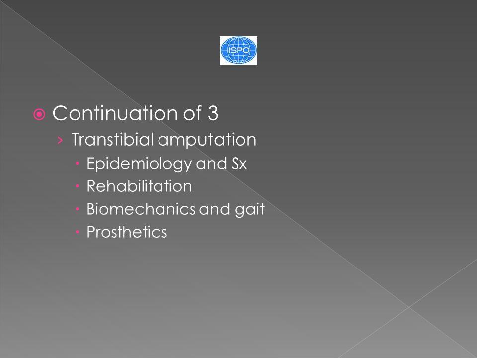  Continuation of 3 › Transtibial amputation  Epidemiology and Sx  Rehabilitation  Biomechanics and gait  Prosthetics