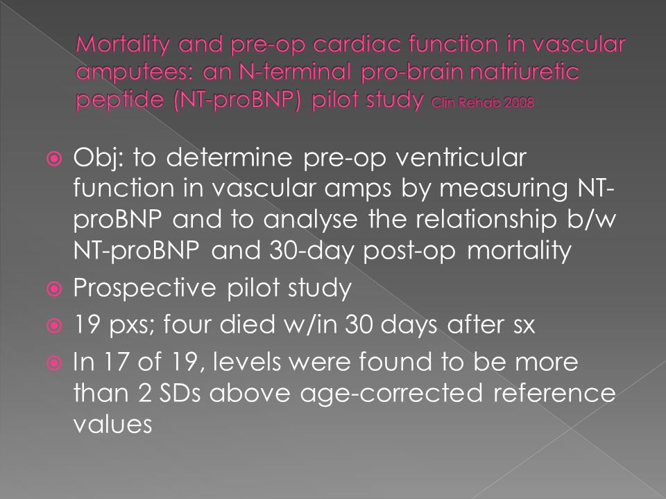 Obj: to determine pre-op ventricular function in vascular amps by measuring NT- proBNP and to analyse the relationship b/w NT-proBNP and 30-day post-op mortality  Prospective pilot study  19 pxs; four died w/in 30 days after sx  In 17 of 19, levels were found to be more than 2 SDs above age-corrected reference values