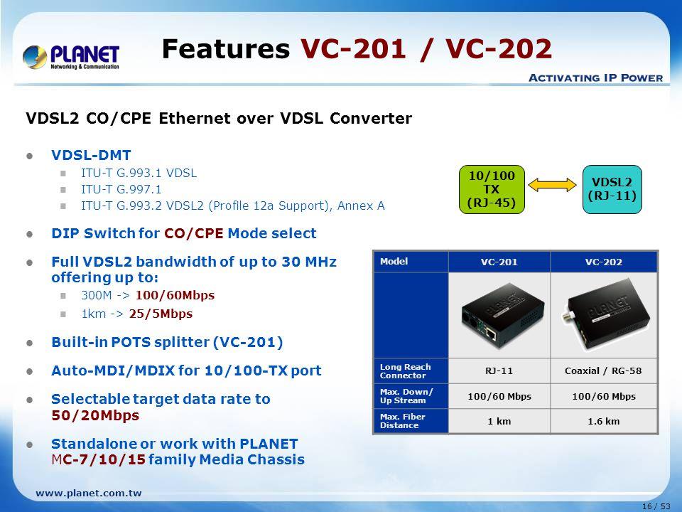 16 / 53 www.planet.com.tw VDSL2 CO/CPE Ethernet over VDSL Converter VDSL-DMT ITU-T G.993.1 VDSL ITU-T G.997.1 ITU-T G.993.2 VDSL2 (Profile 12a Support
