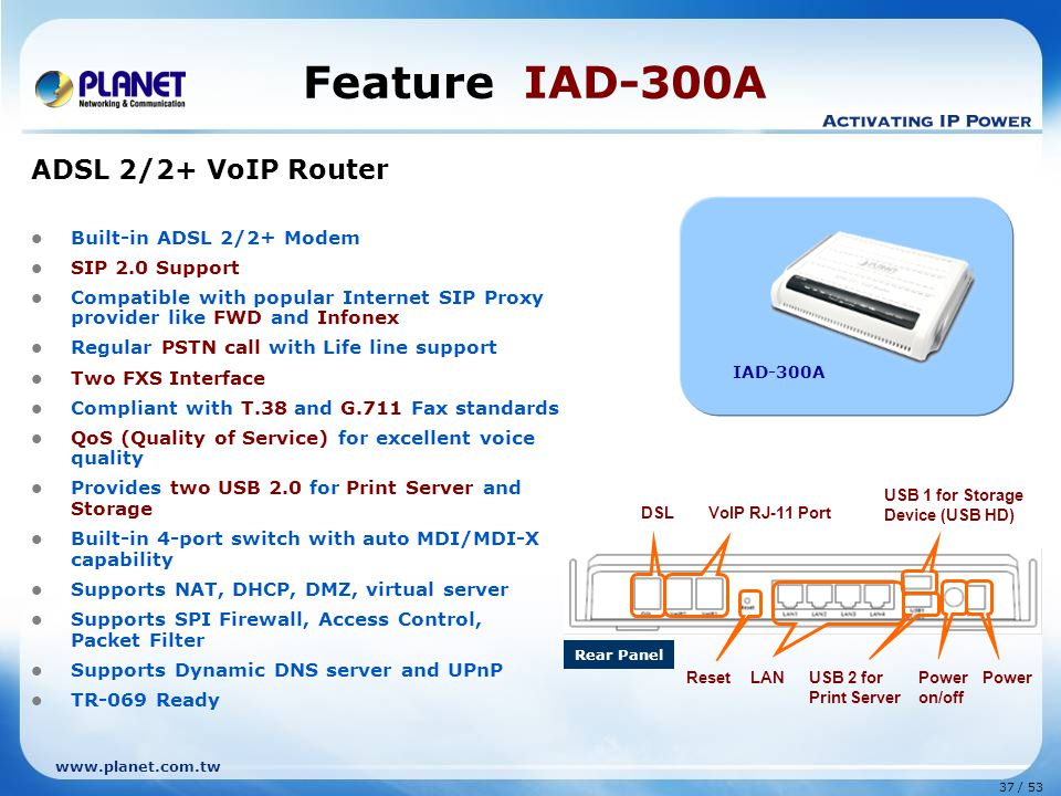 37 / 53 www.planet.com.tw Feature IAD-300A ADSL 2/2+ VoIP Router Built-in ADSL 2/2+ Modem SIP 2.0 Support Compatible with popular Internet SIP Proxy p