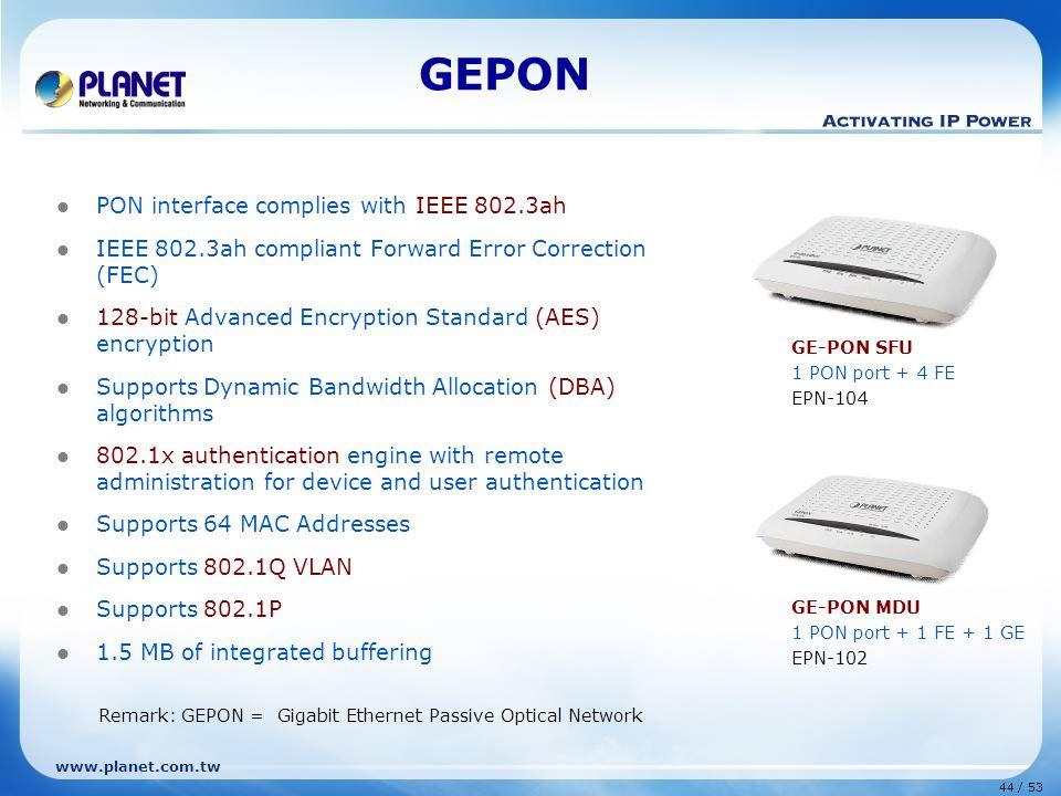 44 / 53 www.planet.com.tw GEPON PON interface complies with IEEE 802.3ah IEEE 802.3ah compliant Forward Error Correction (FEC) 128-bit Advanced Encryp