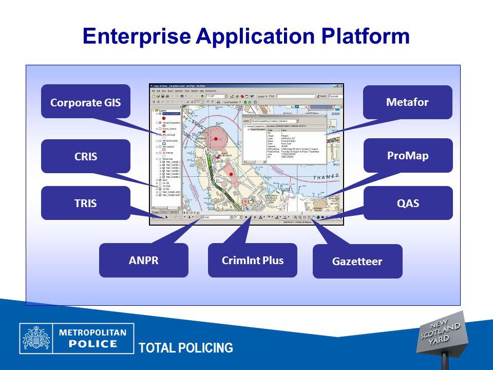 TOTAL POLICING Enterprise Application Platform Metafor CRIS TRIS ANPR CrimInt Plus Gazetteer Corporate GIS ProMap QAS