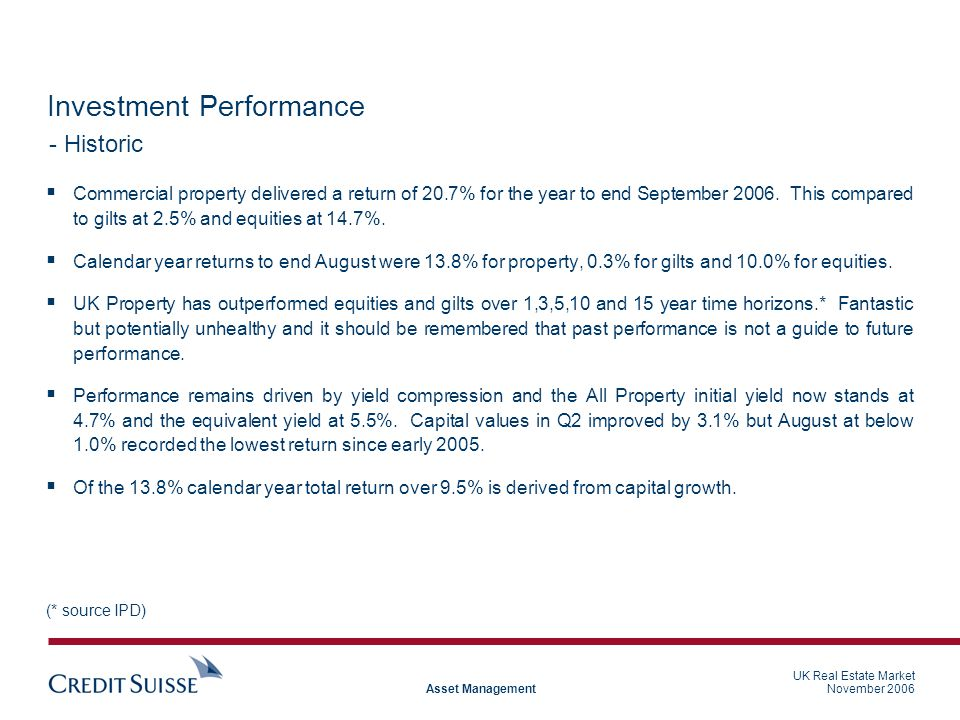 UK Real Estate Market November 2006 Asset Management Investment Performance  Commercial property delivered a return of 20.7% for the year to end September 2006.