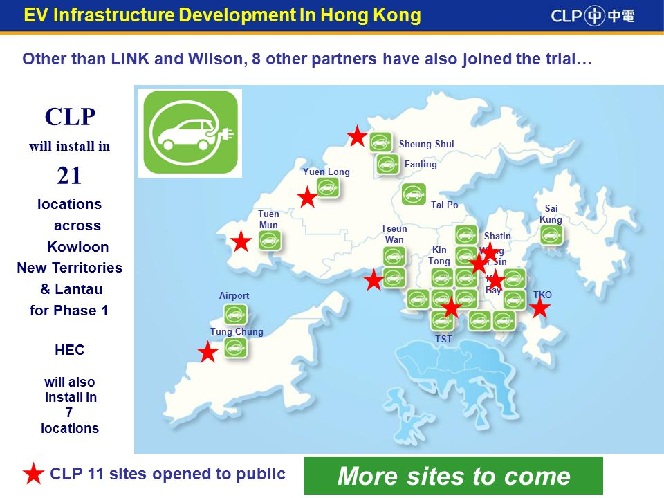 3 CLP will install in 21 locations across Kowloon New Territories & Lantau for Phase 1 HEC will also install in 7 locations Airport Tung Chung Tuen Mun Sai Kung Sheung Shui Fanling Yuen Long TST Kln Bay Shatin Tseun Wan Kln Tong Wong Tai Sin TKO Tai Po Other than LINK and Wilson, 8 other partners have also joined the trial… CLP 11 sites opened to public EV Infrastructure Development In Hong Kong More sites to come