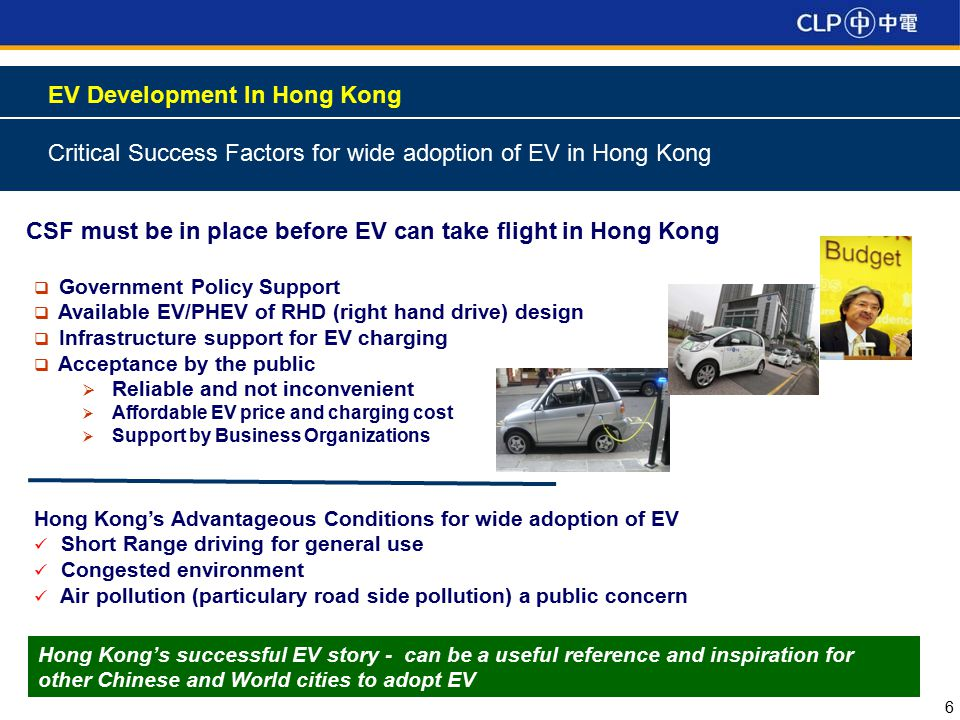 6 EV Development In Hong Kong Critical Success Factors for wide adoption of EV in Hong Kong CSF must be in place before EV can take flight in Hong Kong  Government Policy Support  Available EV/PHEV of RHD (right hand drive) design  Infrastructure support for EV charging  Acceptance by the public  Reliable and not inconvenient  Affordable EV price and charging cost  Support by Business Organizations Hong Kong's Advantageous Conditions for wide adoption of EV Short Range driving for general use Congested environment Air pollution (particulary road side pollution) a public concern Hong Kong's successful EV story - can be a useful reference and inspiration for other Chinese and World cities to adopt EV