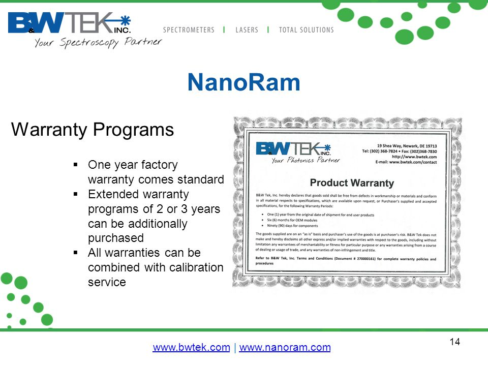 14 NanoRam Warranty Programs  One year factory warranty comes standard  Extended warranty programs of 2 or 3 years can be additionally purchased  All warranties can be combined with calibration service www.bwtek.comwww.bwtek.com | www.nanoram.comwww.nanoram.com