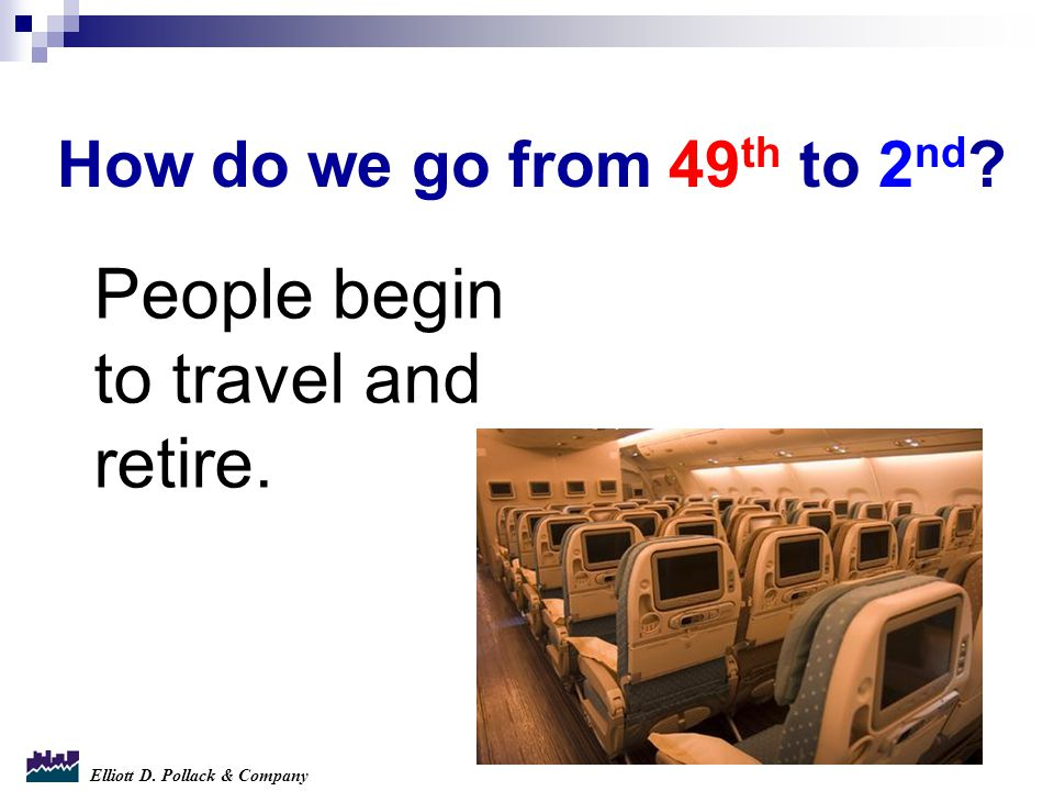 Elliott D. Pollack & Company How do we go from 49 th to 2 nd ? People begin to travel and retire.