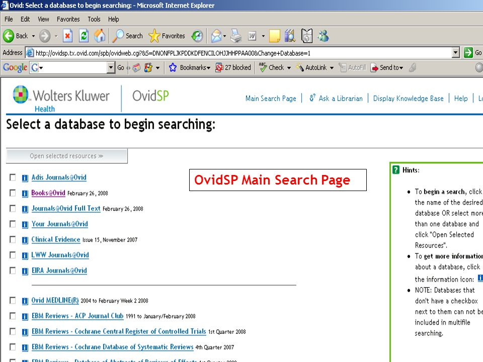 OvidSP Main Search Page