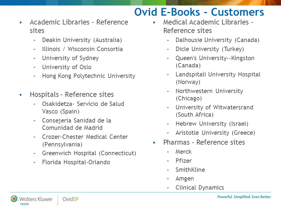 Ovid E-Books - Customers  Academic Libraries – Reference sites –Deakin University (Australia) –Illinois / Wisconsin Consortia –University of Sydney –