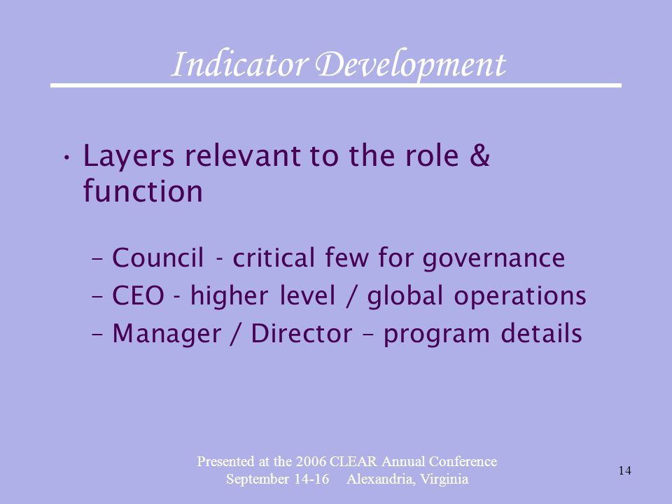 Presented at the 2006 CLEAR Annual Conference September 14-16 Alexandria, Virginia 14 Indicator Development Layers relevant to the role & function –Council - critical few for governance –CEO - higher level / global operations –Manager / Director – program details