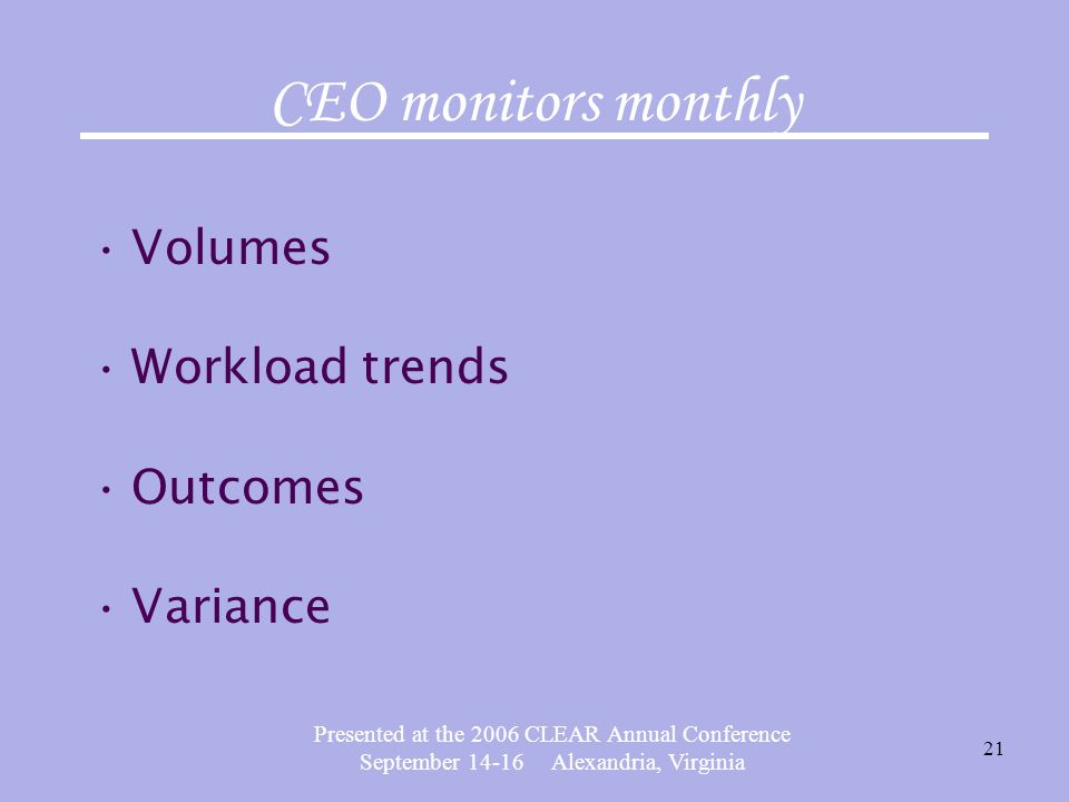 Presented at the 2006 CLEAR Annual Conference September 14-16 Alexandria, Virginia 21 CEO monitors monthly Volumes Workload trends Outcomes Variance