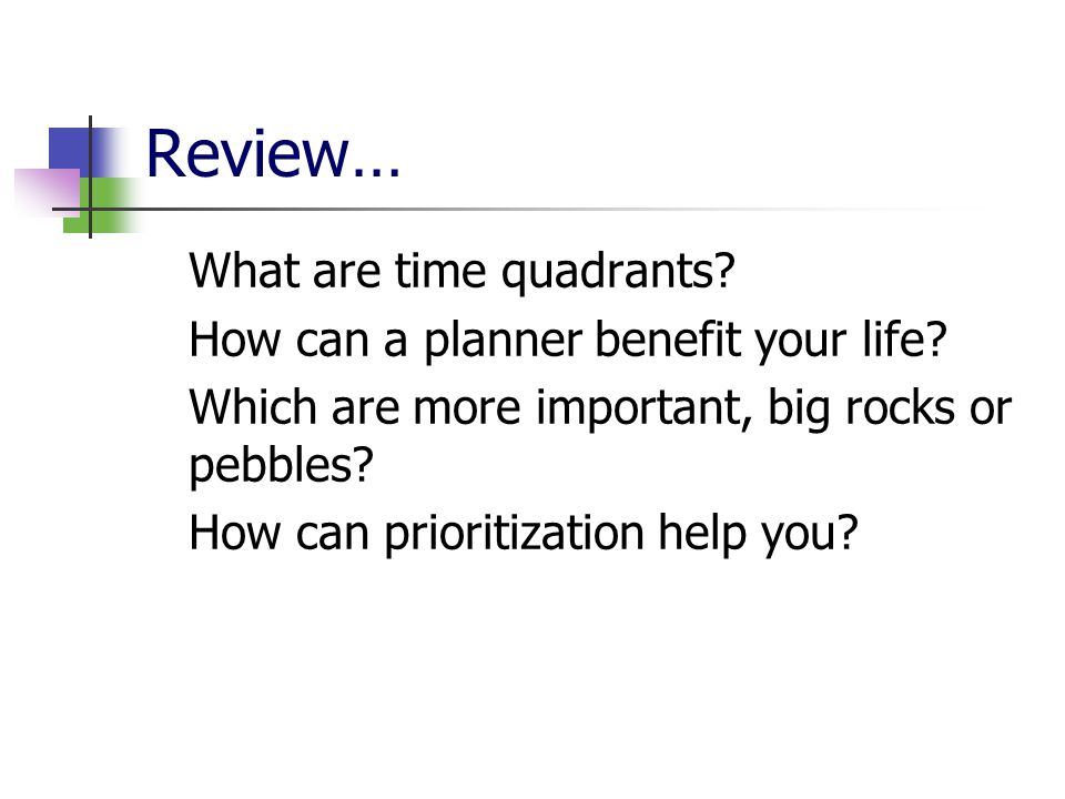 Review… What are time quadrants.How can a planner benefit your life.