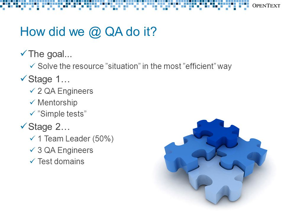 "How did we @ QA do it? The goal... Solve the resource ""situation"" in the most ""efficient"" way Stage 1… 2 QA Engineers Mentorship ""Simple tests"" Stage"