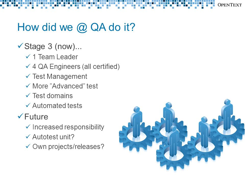 "How did we @ QA do it? Stage 3 (now)... 1 Team Leader 4 QA Engineers (all certified) Test Management More ""Advanced"" test Test domains Automated tests"
