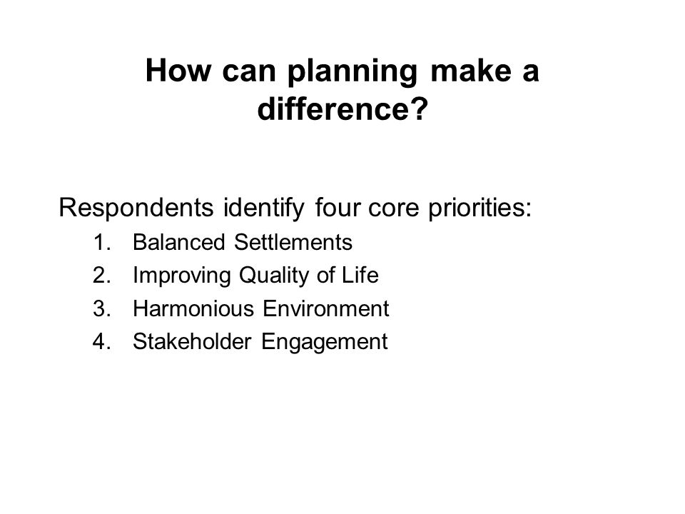 How can planning make a difference.