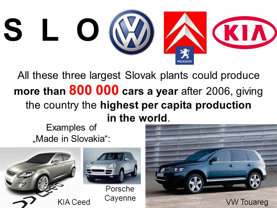 S L O All these three largest Slovak plants could produce more than 800 000 cars a year after 2006, giving the country the highest per capita production in the world.