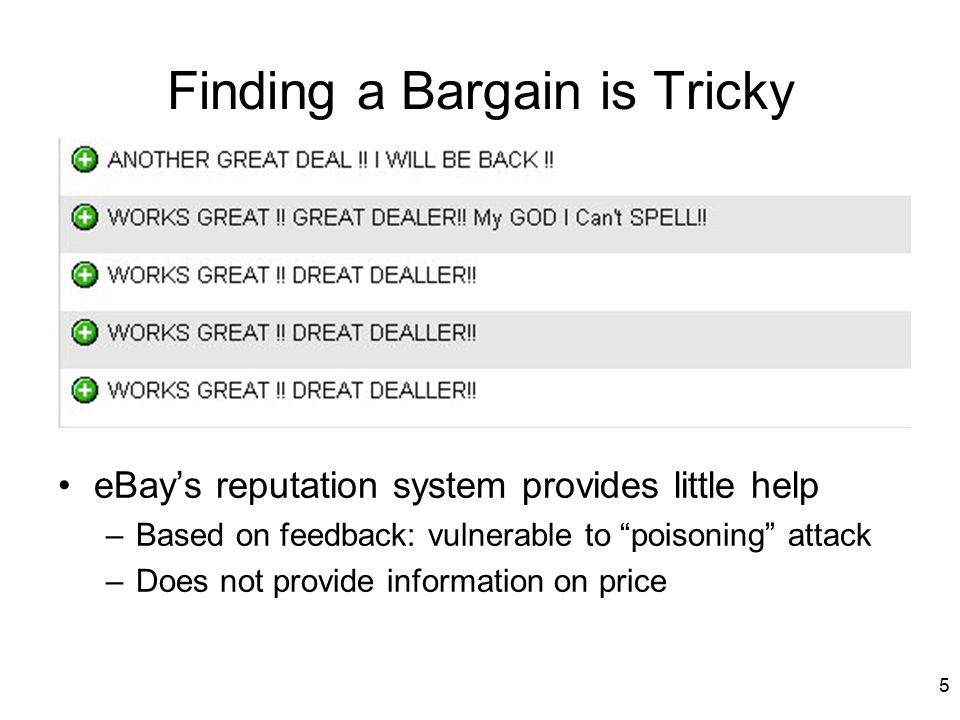 6 Finding a Bargain is Tricky eBay's reputation system provides little help –Based on feedback: vulnerable to poisoning attack –Does not provide information on price –Does not differentiate among the majority of sellers 90% of sellers: Positive feedback > 97.3% 50% of sellers: Positive feedback > 99.4% % of positive feedback