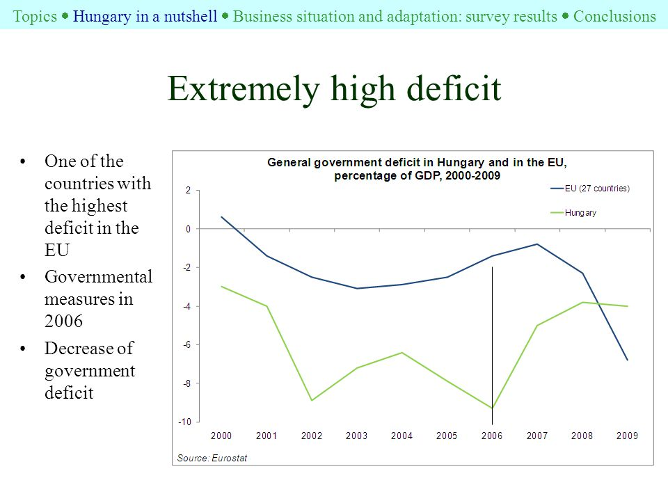 Extremely high deficit One of the countries with the highest deficit in the EU Governmental measures in 2006 Decrease of government deficit Topics  Hungary in a nutshell  Business situation and adaptation: survey results  Conclusions