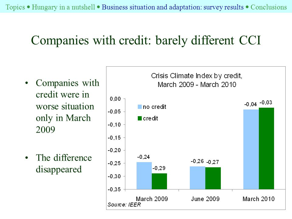 Companies with credit: barely different CCI Companies with credit were in worse situation only in March 2009 The difference disappeared Topics  Hungary in a nutshell  Business situation and adaptation: survey results  Conclusions