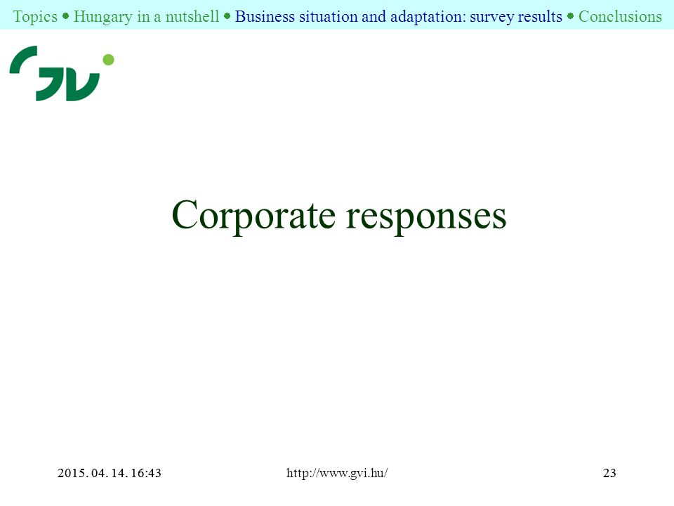2015. 04. 14. 16:44http://www.gvi.hu/232015. 04. 14. 16:4423 Corporate responses Topics  Hungary in a nutshell  Business situation and adaptation: s