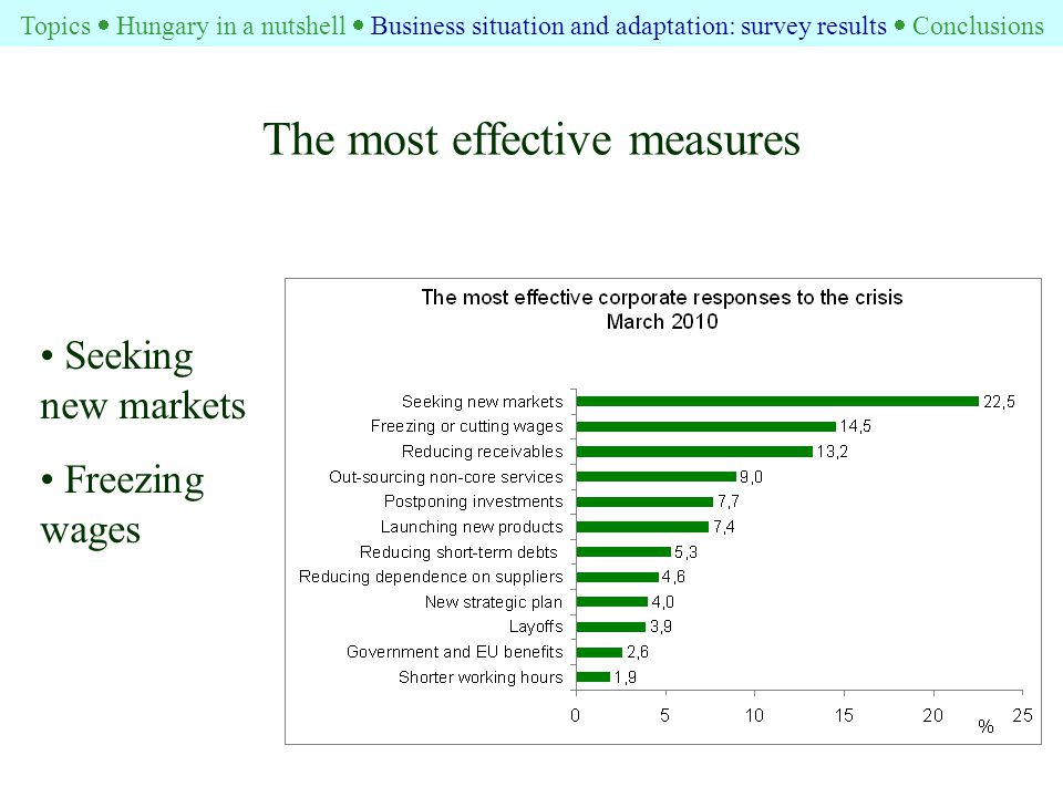 The most effective measures Seeking new markets Freezing wages Topics  Hungary in a nutshell  Business situation and adaptation: survey results  Conclusions