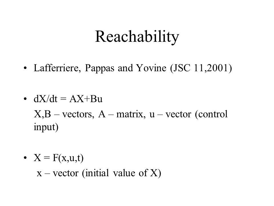 Reachability Lafferriere, Pappas and Yovine (JSC 11,2001) dX/dt = AX+Bu X,B – vectors, A – matrix, u – vector (control input) X = F(x,u,t) x – vector (initial value of X)