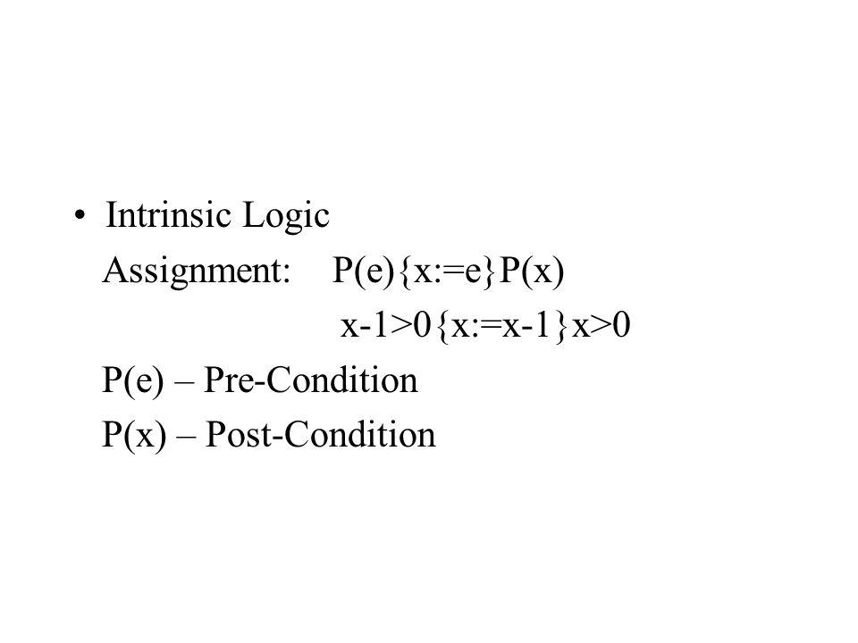 Loop: If B&I{S}I then I{while B do S}I&~B Due to x>0&x>=0{x:=x-1}x>=0 hence x>=0 {while x>0 do x:=x-1} x>=0&~(x>0) I.e.
