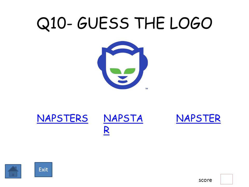 Q10- GUESS THE LOGO NAPSTERSNAPSTERNAPSTA R score Exit
