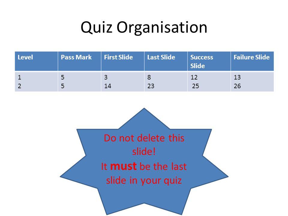 Quiz Organisation LevelPass MarkFirst SlideLast SlideSuccess Slide Failure Slide 1212 5555 3 14 8 23 12 25 13 26 Do not delete this slide! It must be