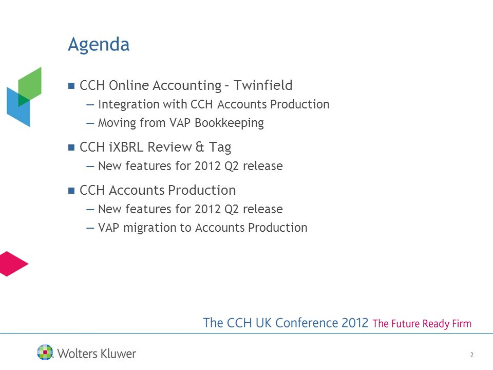 Agenda CCH Online Accounting – Twinfield —Integration with CCH Accounts Production —Moving from VAP Bookkeeping CCH iXBRL Review & Tag —New features for 2012 Q2 release CCH Accounts Production —New features for 2012 Q2 release —VAP migration to Accounts Production 2