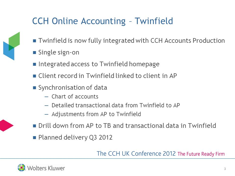 CCH Online Accounting – Twinfield Twinfield is now fully integrated with CCH Accounts Production Single sign-on Integrated access to Twinfield homepage Client record in Twinfield linked to client in AP Synchronisation of data —Chart of accounts —Detailed transactional data from Twinfield to AP —Adjustments from AP to Twinfield Drill down from AP to TB and transactional data in Twinfield Planned delivery Q3 2012 3