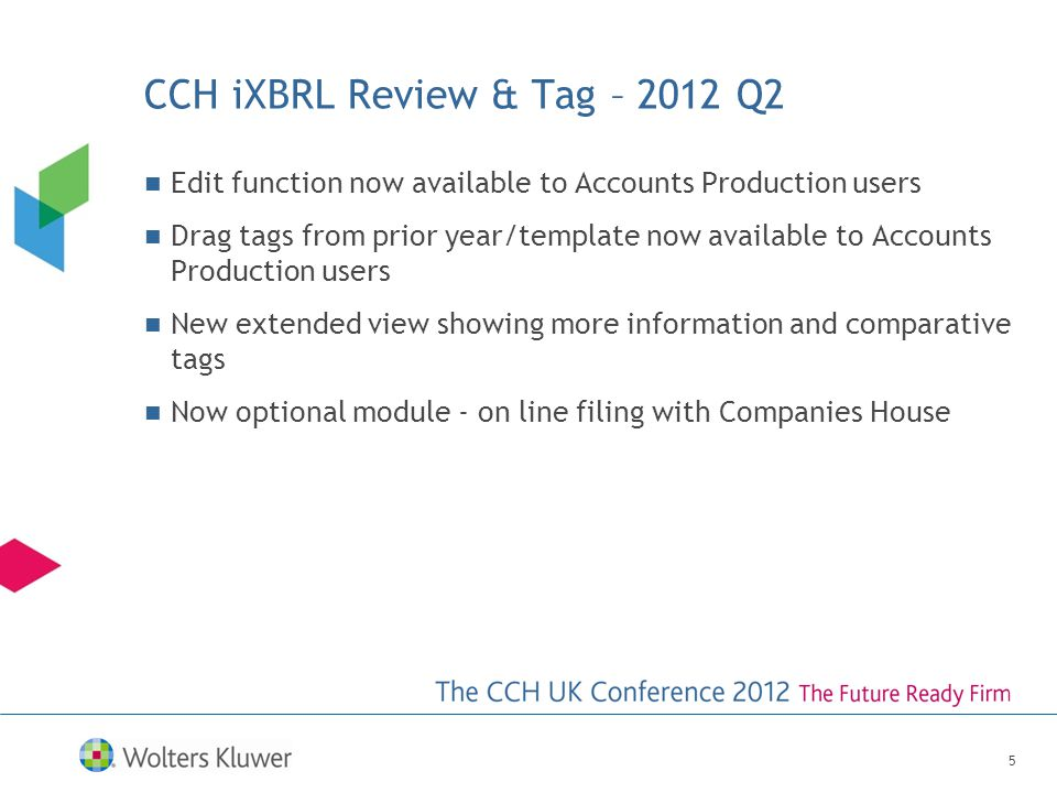 CCH iXBRL Review & Tag – 2012 Q2 Edit function now available to Accounts Production users Drag tags from prior year/template now available to Accounts Production users New extended view showing more information and comparative tags Now optional module - on line filing with Companies House 5