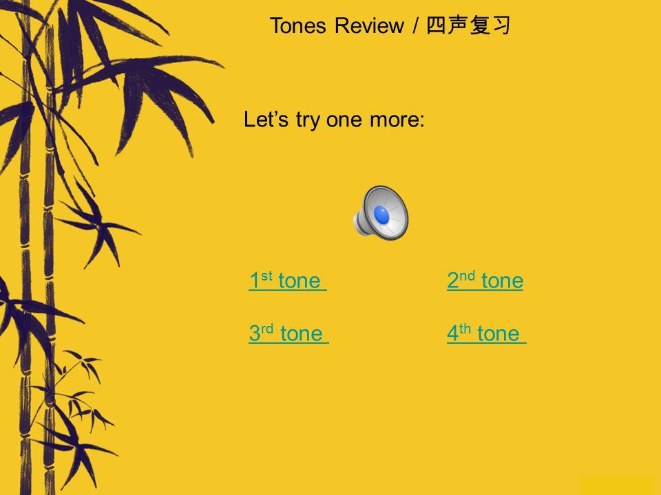 Tones Review / 四声复习 对。非常好!