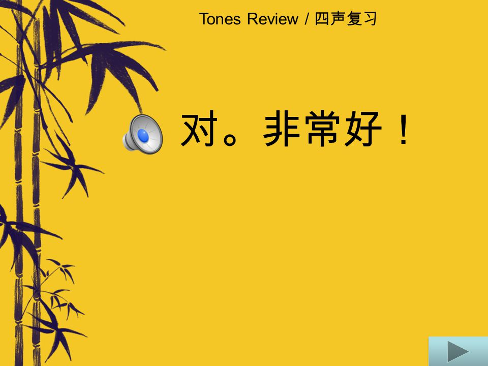 Tones Review / 四声复习 不对。再来一遍。 Think about what would make the combination more natural.