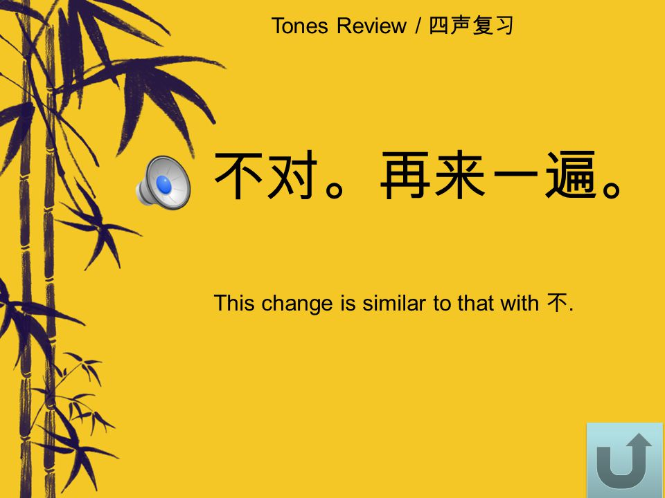 Tones Review / 四声复习 How does 一 yī change when followed by a 4 th tone? Click on the correct answer. Q4: 一块 yī kuài 1) yī kuài2) yí kuài1) yī kuài2) yí